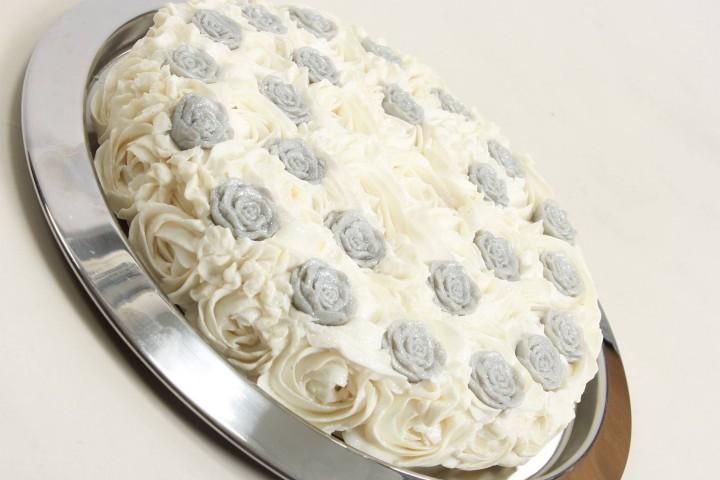 Slice of Soap Cake - Silver Roses